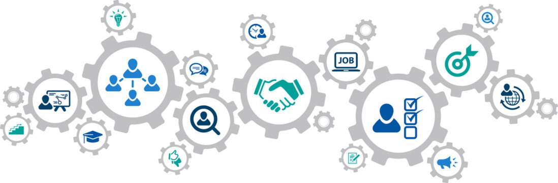 human resources icons concept – recruitment, teamwork, career: vector illustration