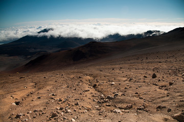 Red soils in the high elevation moon-like volcanic Haleakala crater.