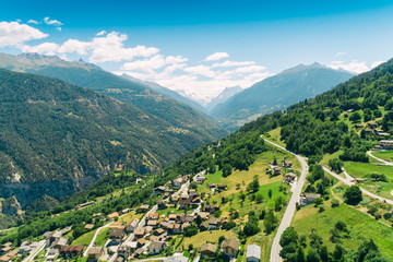 Aerial view of a village on Alps, Sion, Valais canton, Switzerland
