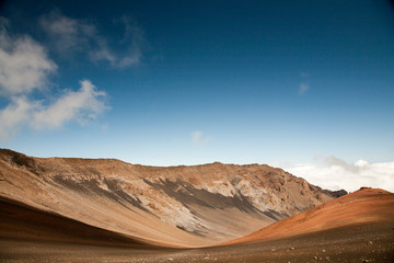 Spectacular coloured volcanic soils and rocks in moon-like Haleakala crater.