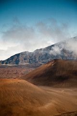 Volcanic cones within the he high-elevation volcanic Haleakala crater.