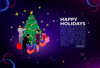 The concept of success. Joyful young people celebrate holidays together. Corporate party. Flat isometric infographics or banner. Illustration with text place isolated on white.