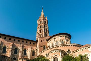 Basilique Saint-Sernin de Toulouse under clear sky, Toulouse, Occitanie, France