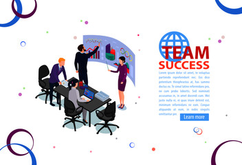 Team work concept. Business management and administration. People characters, on business building.  Flat isometric infographics or banner. Illustration with text place isolated on white.