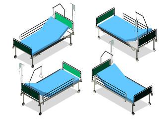 Isometric  hospital bed isolated on white background. Vector illustration