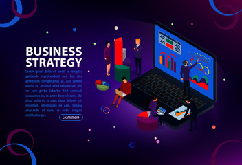 Seo optimization with Pay per click Website concept. People characters, team work on web images.  Flat isometric infographics or banner. Illustration with text place