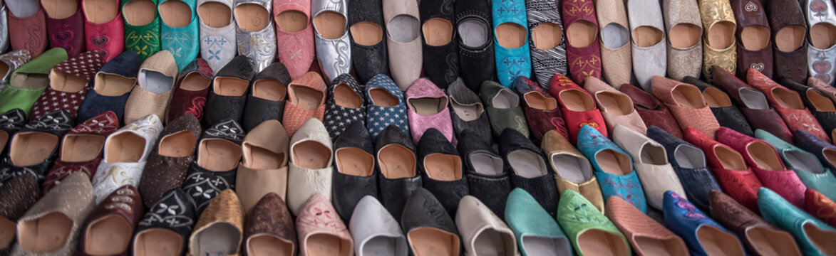 Babouches for sale in souk, Marrakesh, Morocco