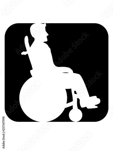 button rollstuhl schild schwarz silhouette behinderung gehen