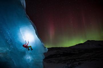 Man climbing on glacier, Canada