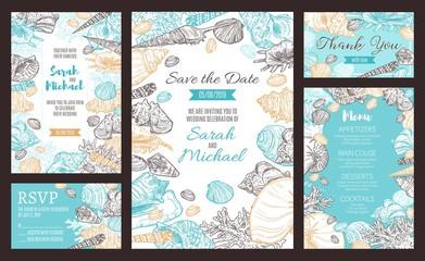 Save the Date party invitation, marine sketch menu
