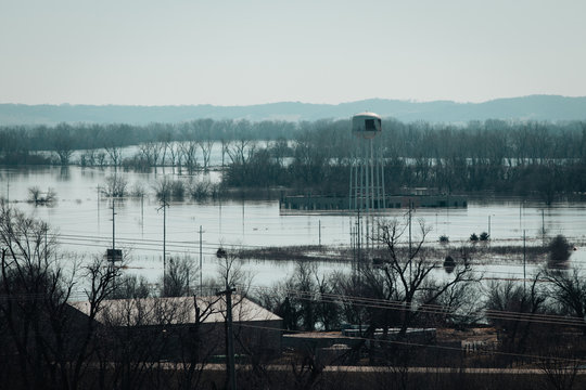 Flood Waters in Bellevue Nebraska Following Bomb Cyclone