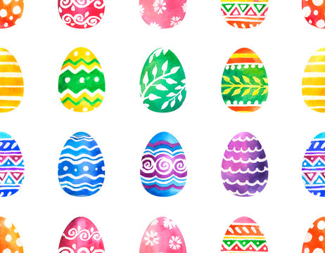 Hand drawn watercolor set of colorful Easter eggs with different ornaments isolated on white background