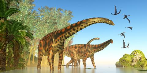 Spinophorosaurus Dinosaur Marsh - Dorygnathus reptile birds fly close to a Spinophorosaurus dinosaur herd during the Jurassic Period.