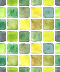Different watercolour squares drawing, seamless pattern. Various shades of green, yellow, pale beige, brown. Handdrawn ink and water color illustration on white backdrop for beautiful modern design.