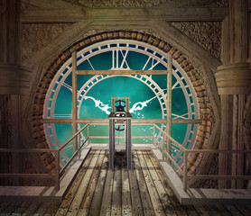 Behind a big steampunk clock in an empty room made of wood - 3D illustration