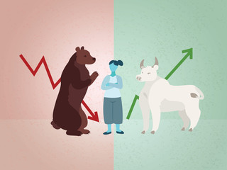 Woman considering business advice, bull and bear markets
