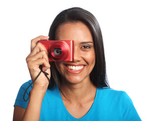 Beautiful happy mixed race woman taking photos