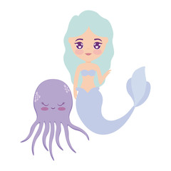 cute mermaid with octopus animal