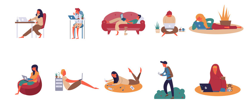 people work remotely with a laptop, work at home, set of icons with colorful characters, Vector image, flat design