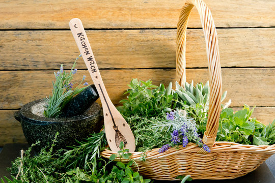 Kitchen Witch - wooden spoon, with fresh herbs and mortar and pestle against rustic background