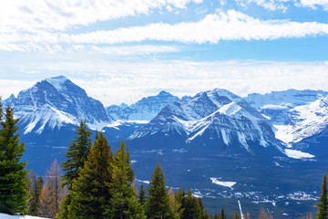 Mountain Landscape of Canadian Rockies at Lake Louise Near Banff