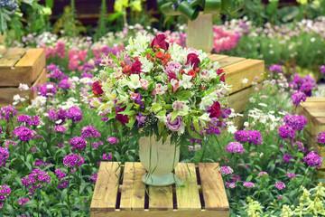 Flower design Flower in vase on wooden box show at flora exhibition, beautiful flowery pattern, garden decorative, art of bouquet design, flower bouquet design, flower bouquet sin floristry exhibition