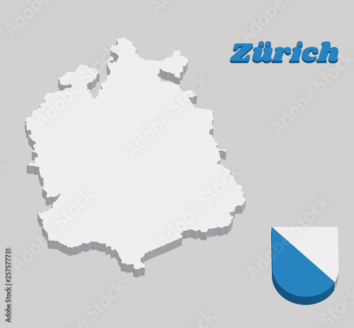 3D Map outline and Coat of arms of Zurich, The canton of Switzerland Zurich Switzerland Map on