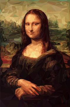 "Mona Lisa ""La Joconde"" - Leonardo da Vinci painting in Low Poly style. Conceptual Vector Illustration"