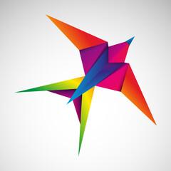 Fototapeta Jaskółka origami. Logo wektor