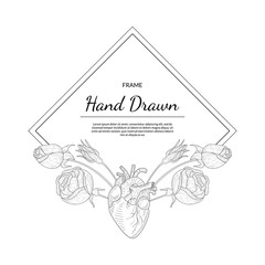 Hand Drawn Monochrome Frame with Rose Flowers and Human Heart Vector Illustration
