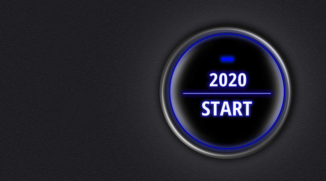 Engine start button with message of 2020