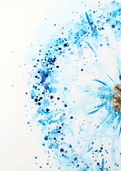 Watercolor background picture blue dandelion flower