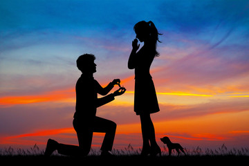 illustration of man propose to girlfriend