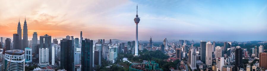 Zelfklevend Fotobehang Kuala Lumpur Kuala Lumpur, Malaysia – MARCH 12, 2019: Panoramic view of the Kuala Lumpur capital 68Mp resolution in Kuala Lumpur, Malaysia