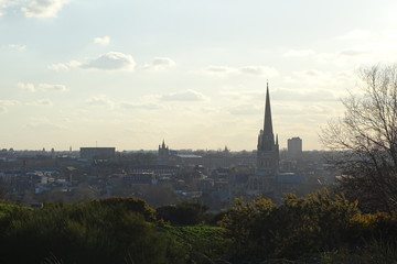 Autocollant pour porte Cracovie Dusk views of Norwich from Mousehold Heath, including Norwich Cathedral
