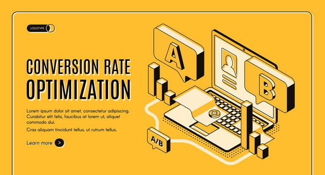 Conversion rate optimization online service isometric vector web banner with A B split testing results on laptop screen illustration. Internet marketing, e-commerce seo startup landing page template