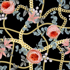 Golden Chains Check Seamless Pattern with Flowers.
