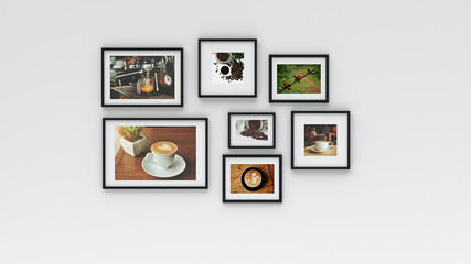 Photo frame on wall - coffee picture(3d rendering)