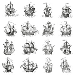 Tuinposter Schip Old caravel, vintage sailboat. Hand drawn vector sketch.