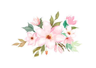 Floral template for wedding cards, invitations, Easter, birthday. Watercolor style. Vector  illustration