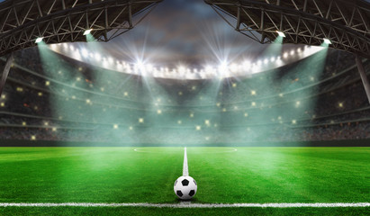 soccer game starts - Soccer ball in stadium