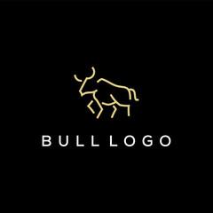 bull simple line logo design