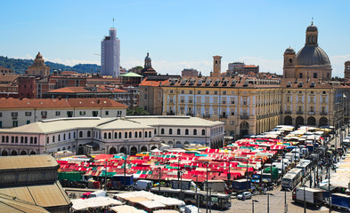 """""""Porta Palazzo"""" is the oldest farmers market in Turin, Italy, the biggest open air market in Europe. It is located in Republic Square, next to the old town center"""
