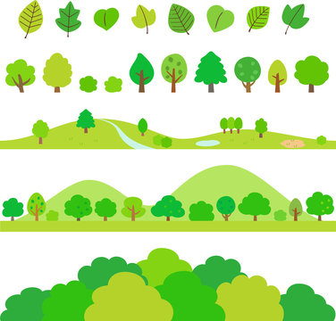 木や葉のデコレーションイラストセット