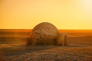 .futuristic dome building in the Sahara desert place of shooting the fourth episode of Star Wars Wall mural