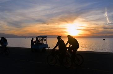 Biking Couple Enjoying Sunset
