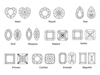 vector illustration of cutting scheme for diamonds and gem stones