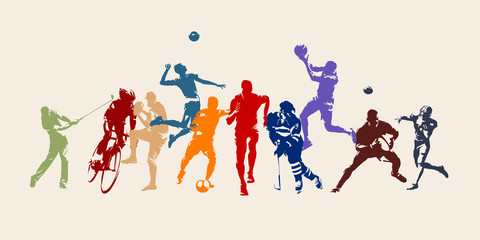 Sports, set of athletes of various sports disciplines. Isolated vector silhouettes. Run, soccer, hockey, volleyball, basketball, rugby, baseball, american football, cycling, golf