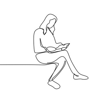 continuous line drawing of someone reading a book.