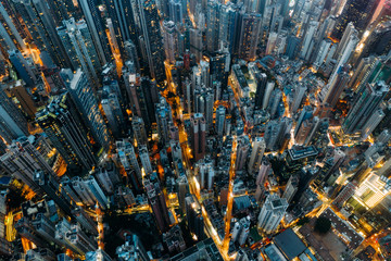 Top view of residential at central district in Hong Kong China at night Fototapete